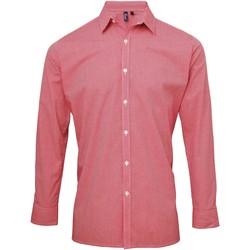 Textil Homem Camisas mangas comprida Premier Microcheck Vermelho/branco