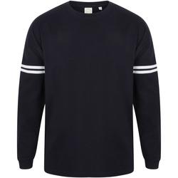 Textil Homem T-shirt mangas compridas Skinni Fit Slogan Marinha de Oxford / White Stripes
