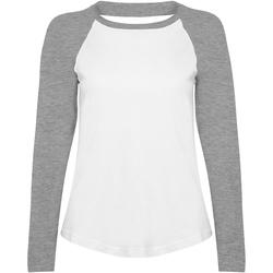 Textil Mulher T-shirt mangas compridas Skinni Fit SK271 Branco / Heather Grey