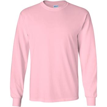 Textil Homem T-shirt mangas compridas Gildan 2400 Rosa claro