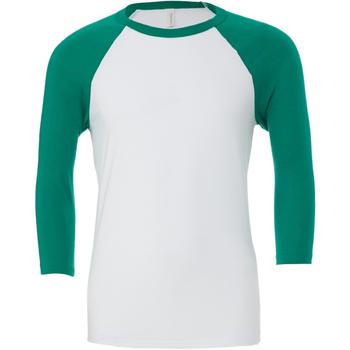 Textil Homem T-shirt mangas compridas Bella + Canvas CA3200 Branco/Kelly Green
