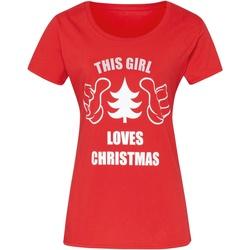 Textil Mulher T-Shirt mangas curtas Christmas Shop CJ212 Vermelho