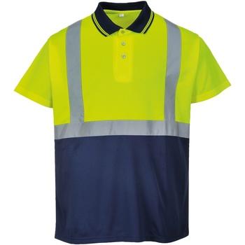 Textil Homem Polos mangas curta Portwest  Amarelo / Marinha