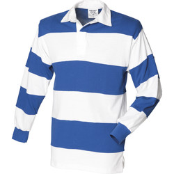 Textil Homem Polos mangas compridas Front Row FR08M White & Royal (colarinho branco)