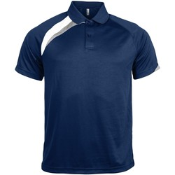 Textil Homem Polos mangas curta Kariban Proact PA457 Marinha/ Branco/ Cinza Tempestade