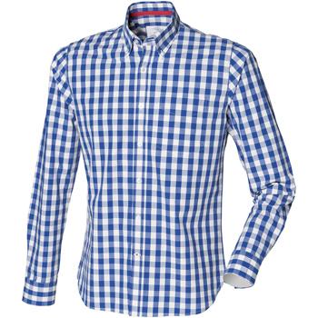 Textil Homem Camisas mangas comprida Front Row FR500 Cheque Azul