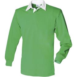Textil Homem Polos mangas compridas Front Row FR100 Brilhante Verde/branco