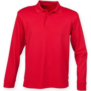 Textil Homem Polos mangas compridas Henbury HB478 Vermelho clássico