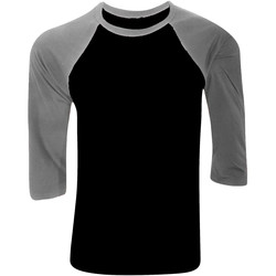 Textil Homem T-shirt mangas compridas Bella + Canvas CA3200 Preto/ Cinza Heather Profunda