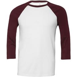 Textil Homem T-shirt mangas compridas Bella + Canvas CA3200 Branco/Maroon