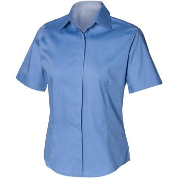 Textil Homem Camisas mangas curtas Henbury HB556 Azul Corporativo
