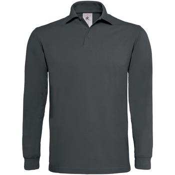 Textil Homem Polos mangas compridas B And C PU423 Cinza Escuro