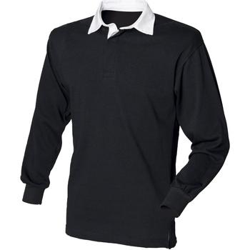 Textil Homem Polos mangas compridas Front Row FR100 Preto/branco