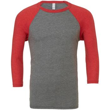 Textil Homem T-shirt mangas compridas Bella + Canvas CA3200 Triblend cinza/vermelho claro