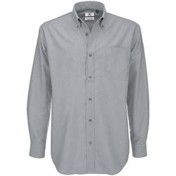 Textil Homem Camisas mangas comprida B And C SMO01 Lua de Prata