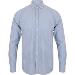 Textil Homem Camisas mangas comprida Front Row FR502 Azul claro