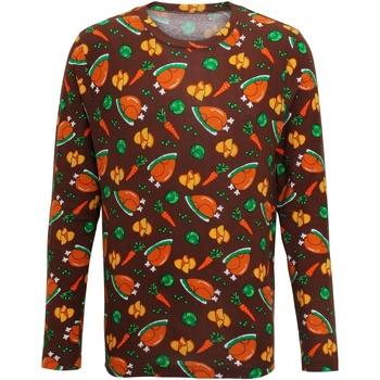 Textil Homem T-shirt mangas compridas Christmas Shop CS002 Brown