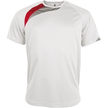 Textil Homem T-Shirt mangas curtas Kariban Proact PA436 Branco/ Vermelho/ Cinza Tempestade