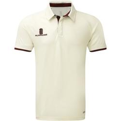 Textil Homem Polos mangas curta Surridge SU013 Branco/Maroon guarnição