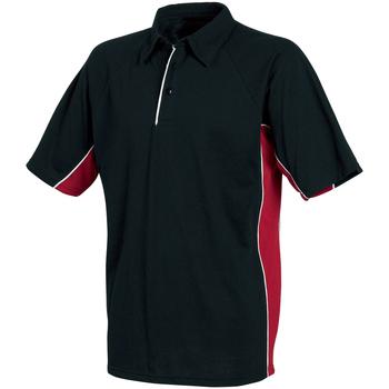 Textil Homem Polos mangas curta Tombo Teamsport TL065 Tubulação preta/vermelha/branca