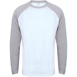 Textil Homem T-shirt mangas compridas Skinni Fit SF271 Branco / Heather Grey