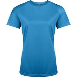 Textil Mulher T-Shirt mangas curtas Kariban Proact PA439 Aqua Blue