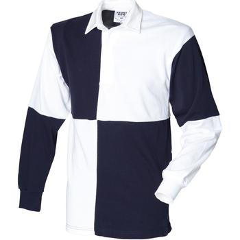 Textil Homem Polos mangas compridas Front Row FR02M Branco/Navio (colarinho branco)