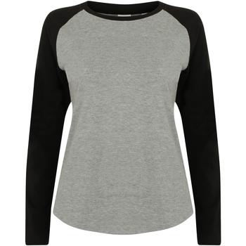 Textil Mulher T-shirt mangas compridas Skinni Fit SK271 Heather Grey / Black