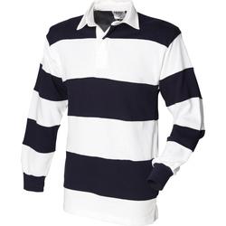 Textil Homem Polos mangas compridas Front Row FR08M Branco e Marinha (colarinho branco)