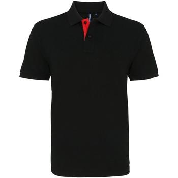 Textil Homem Polos mangas curta Asquith & Fox AQ012 Preto/ Vermelho