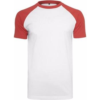 Textil Homem T-Shirt mangas curtas Build Your Brand BY007 Branco/vermelho