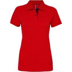 Textil Mulher Polos mangas curta Asquith & Fox Contrast Vermelho / Marinha