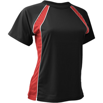Textil Mulher T-Shirt mangas curtas Finden & Hales LV251 Preto/Vermelho/branco