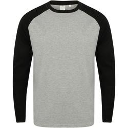 Textil Homem T-shirt mangas compridas Skinni Fit SF271 Heather Grey / Black