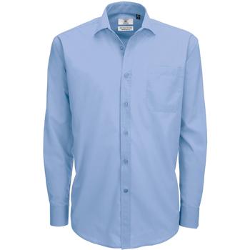 Textil Homem Camisas mangas comprida B And C SMP61 Negócios Azul