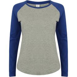 Textil Mulher T-shirt mangas compridas Skinni Fit SK271 Heather Grey / Royal