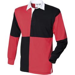 Textil Homem Polos mangas compridas Front Row FR02M Preto/Vermelho (colarinho branco)
