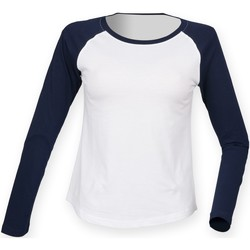 Textil Mulher T-shirt mangas compridas Skinni Fit SK271 Marinha Branca / Oxford