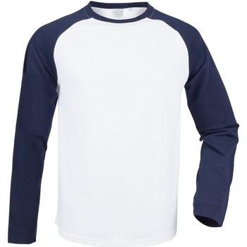 Textil Homem T-shirt mangas compridas Skinni Fit SF271 Marinha Branca / Oxford
