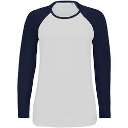 Textil Mulher T-shirt mangas compridas Sols 02943 Marinha branca/francesa