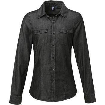 Textil Mulher camisas Premier Stitch Denim Preto