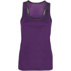 Textil Mulher Tops sem mangas Tridri TR023 Púrpura / Carvão vegetal