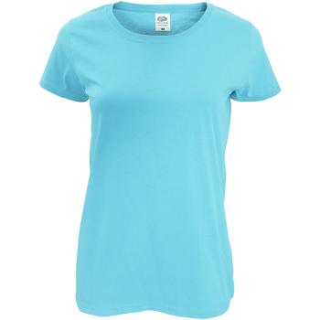 Textil Mulher T-Shirt mangas curtas Fruit Of The Loom 61420 Azul Céu