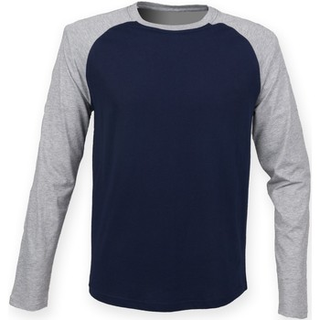 Textil Homem T-shirt mangas compridas Skinni Fit SF271 Marinha de Oxford / Heather Grey