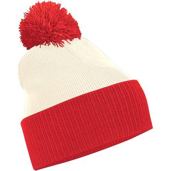 Acessórios Rapaz Gorro Beechfield B451 Branco/Brilhante Vermelho