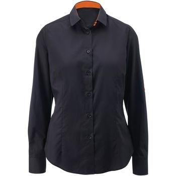 Textil Mulher camisas Alexandra AX060 Preto/ Laranja