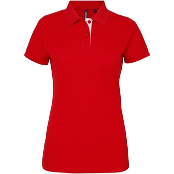 Textil Mulher Polos mangas curta Asquith & Fox Contrast Vermelho/ Branco