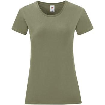 Textil Mulher T-Shirt mangas curtas Fruit Of The Loom 61432 Clássico Verde Oliva