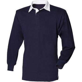 Textil Homem Polos mangas compridas Front Row FR100 Marinha/ Branco