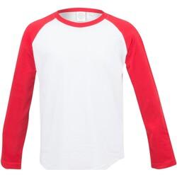 Textil Criança T-shirt mangas compridas Skinni Fit SM271 Branco / Vermelho